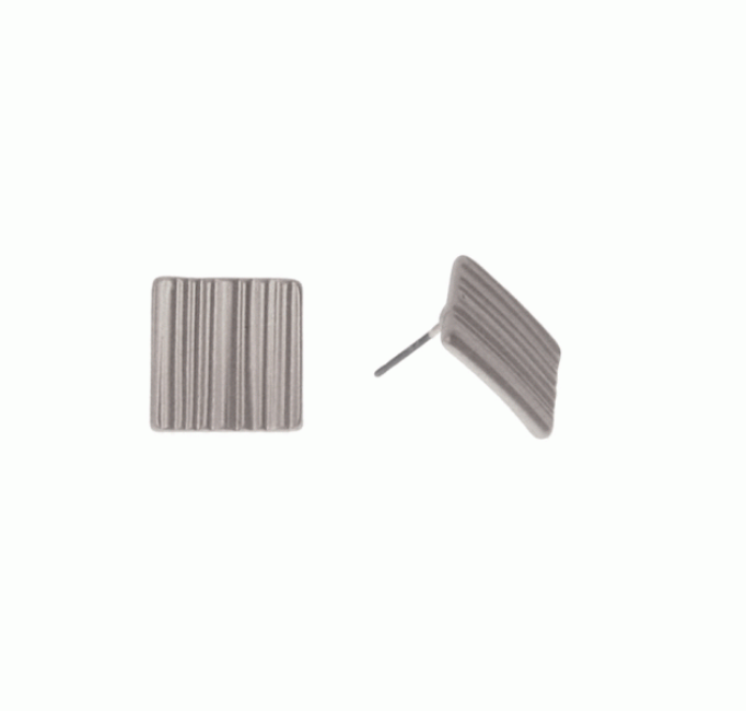 Ridged Square Post Earrings