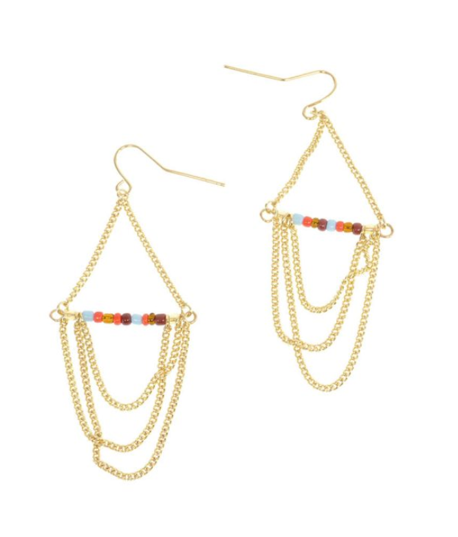Gold Multi-Bead Chandelier Earrings