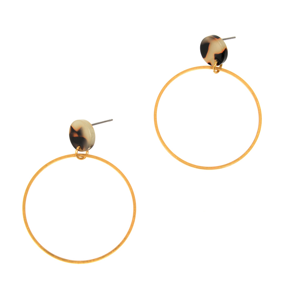 Gold Hoop Tortoise Earrings
