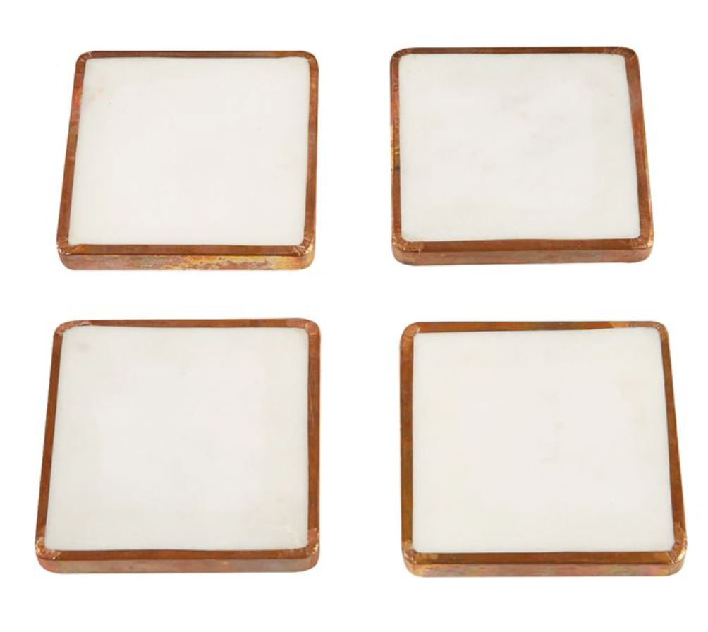 Metal Trim Marble Coaster Sets