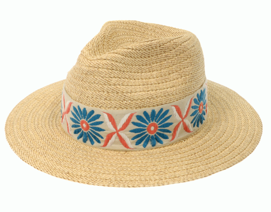 Natural Panama Hat with Embroidered Band
