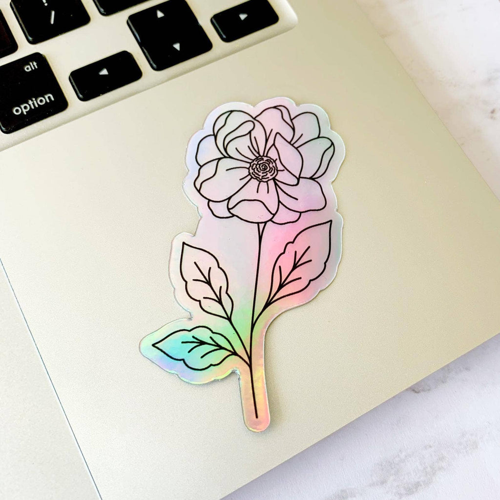 Holographic Anemone Sticker, 3x2in.
