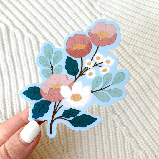 White Pink Blue Floral Sticker, 3x3 in.