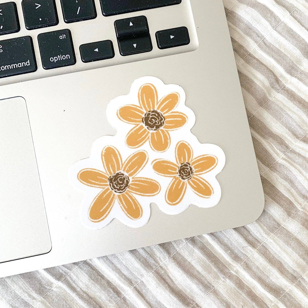 Three Yellow Flowers Sticker, 3x3 in.