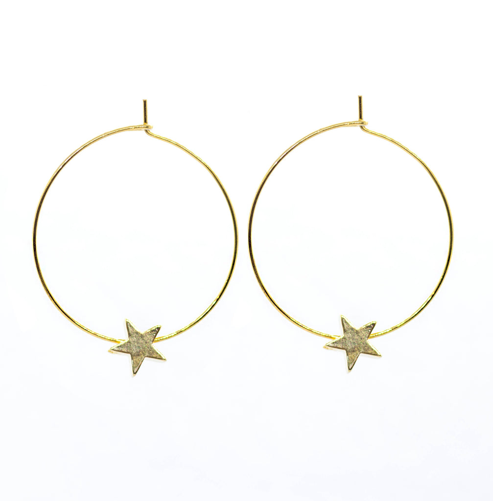 Solid Star Hoop Earrings