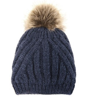 Diagonal Knit Pom Pom Hat