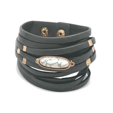 Long Semi Stone Layered Leather Wrap