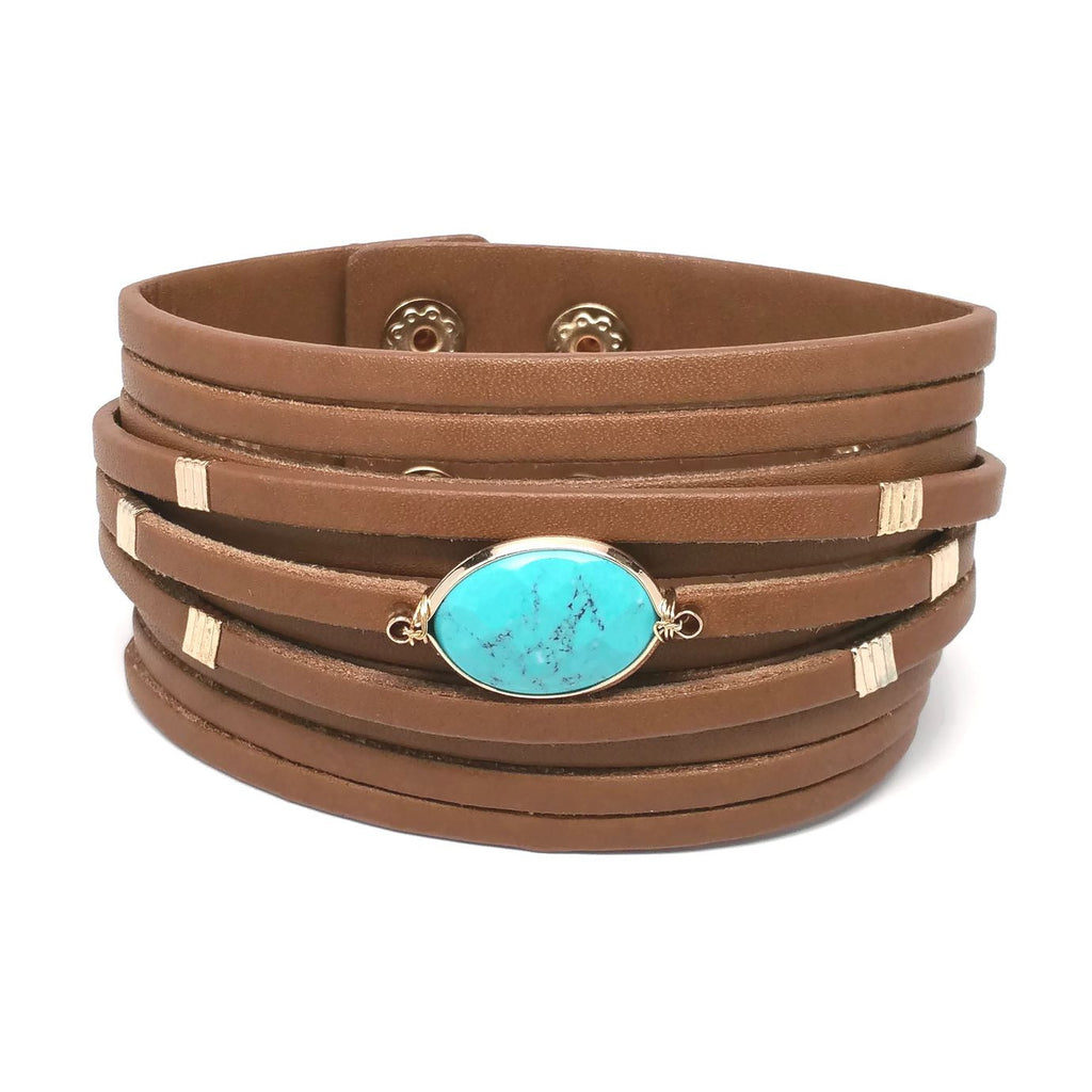 Semi Stone Wide Leather Wrap