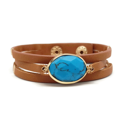 Semi Stone Leather Bracelet