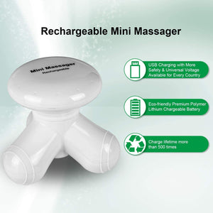 Cotsoco Handheld Massager Mini Portable Vibrating Body Massager with LED Light for Hand Head Neck Back Legs Arms Pain Release