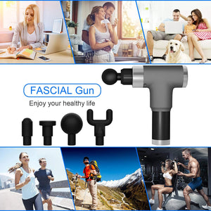 Muscle Massage Gun Deep Tissue, Handheld Body Massager for Pain Relief , 6 Speed Rechargeable Percussion Massager Gun with 4 Massage Heads and Carry Case, LCD Touch Screen&Long Battery Life