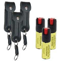 3 1/2 oz. Pepper Spray Keychains PLUS 3 Inert Training Sprays