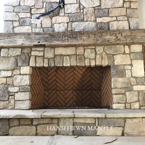 Installed Hand Hewn Mantle