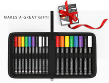 Load image into Gallery viewer, Acrylic Painting Essential 19 Pen Set In Zipper Case. 16 Acrylic Pens(0.7mm+3mm) 2 micro fineliners, Tracing Stylus, Graphite Transfer Paper