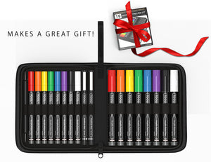 Acrylic Painting Essential 19 Pen Set In Zipper Case. 16 Acrylic Pens(0.7mm+3mm) 2 micro fineliners, Tracing Stylus, Graphite Transfer Paper