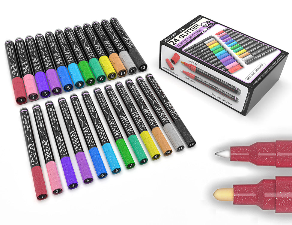 TOOLI-ART Acrylic Paint Pens 30 Assorted Markers Set 0.7mm
