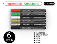 Load image into Gallery viewer, TOOLI HOLIDAY 6-PACK CHRISTMAS COLORS: Acrylic Paint Pens 0.7mm EXTRA-FINE Tip