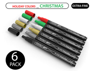 TOOLI HOLIDAY 6-PACK CHRISTMAS COLORS: Acrylic Paint Pens 0.7mm EXTRA-FINE Tip