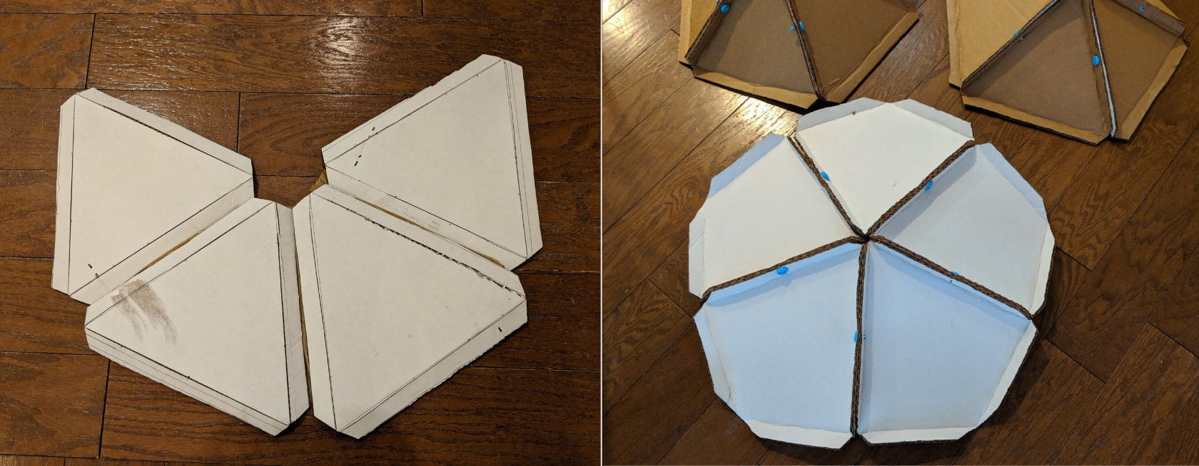 Makedo cardboard geo dome segments construction process