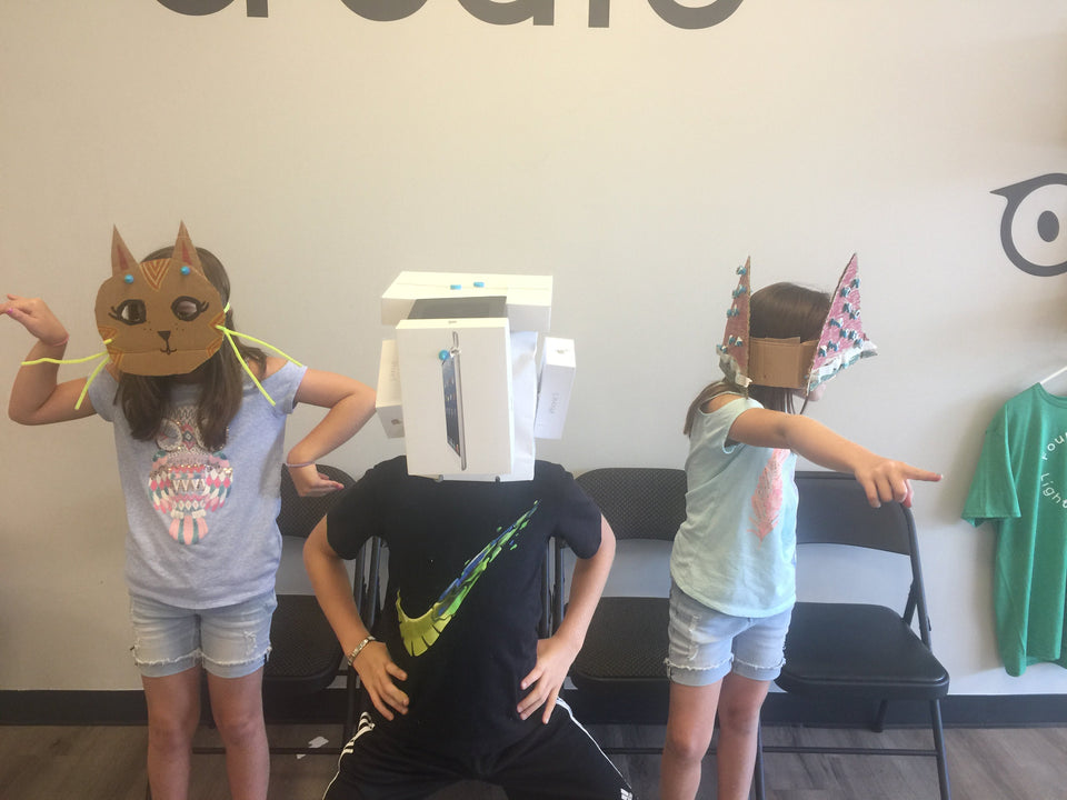 Makedo cardboard construction animal masks