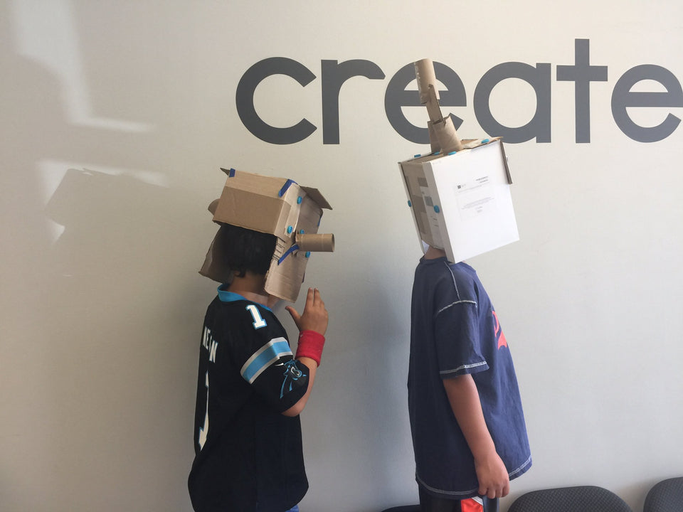 Makedo cardboard construction system alien helmets