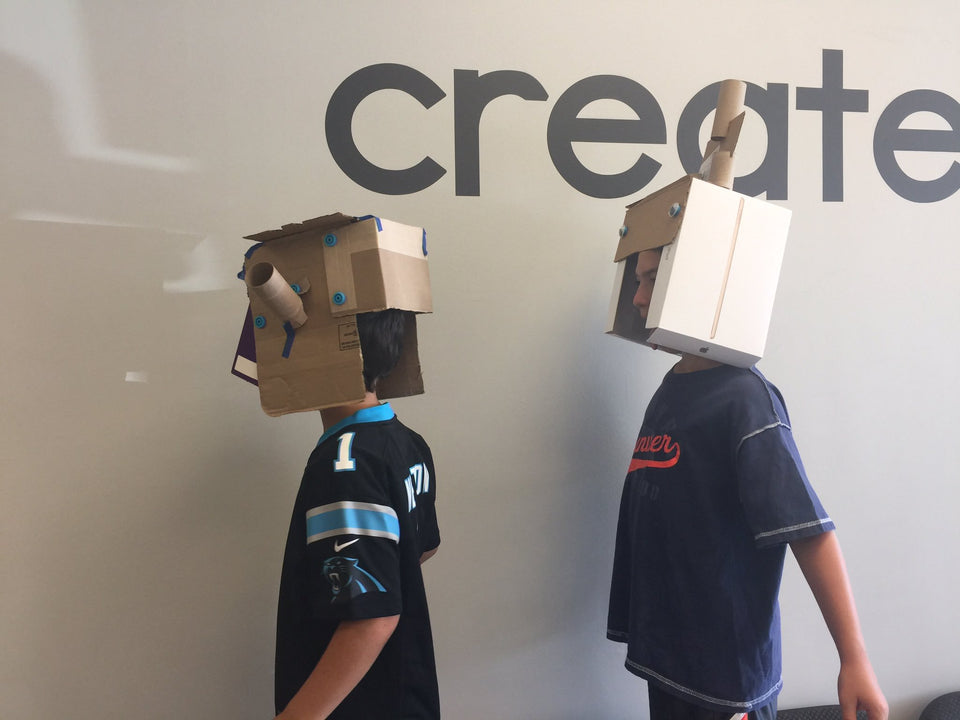Makedo cardboard construction alien helmets