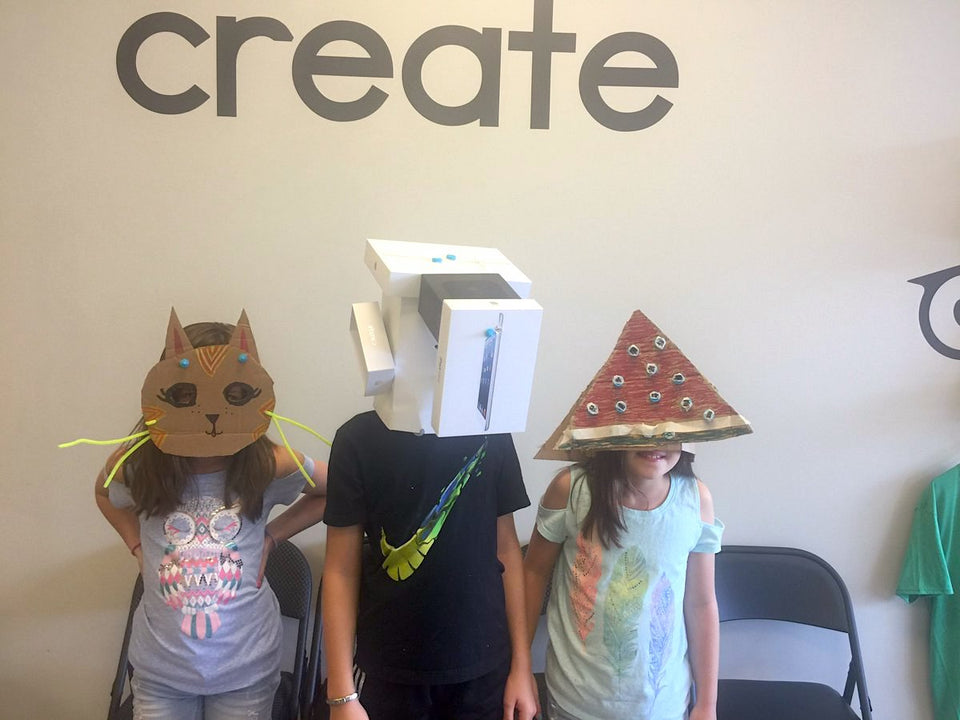 Makedo cardboard construction system animal masks