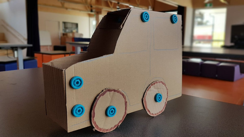 Small cardboard car Makedo construction Dallas Brooks CPS