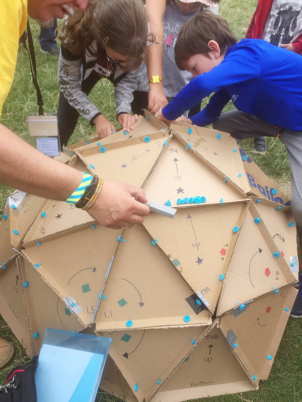 Cardboard geodesic dome in Dublin made with Makedo