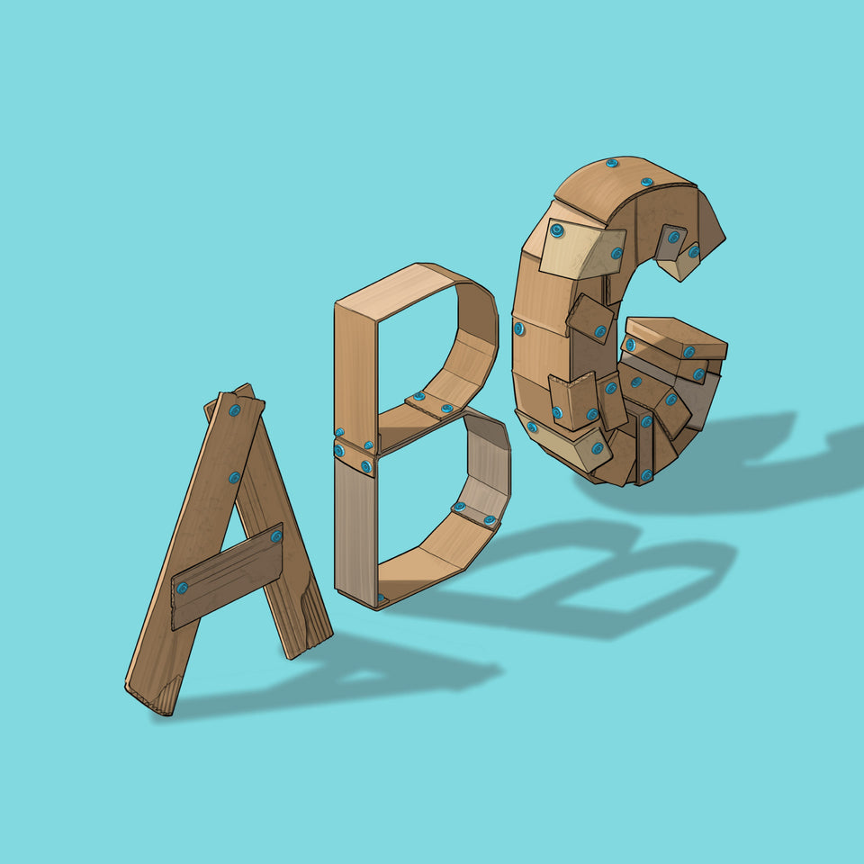 Makedo Illustrations Cardboard Text ABC
