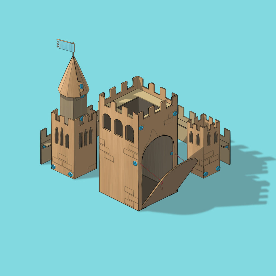 Illustrated Makedo creation - Small Cardboard Castle