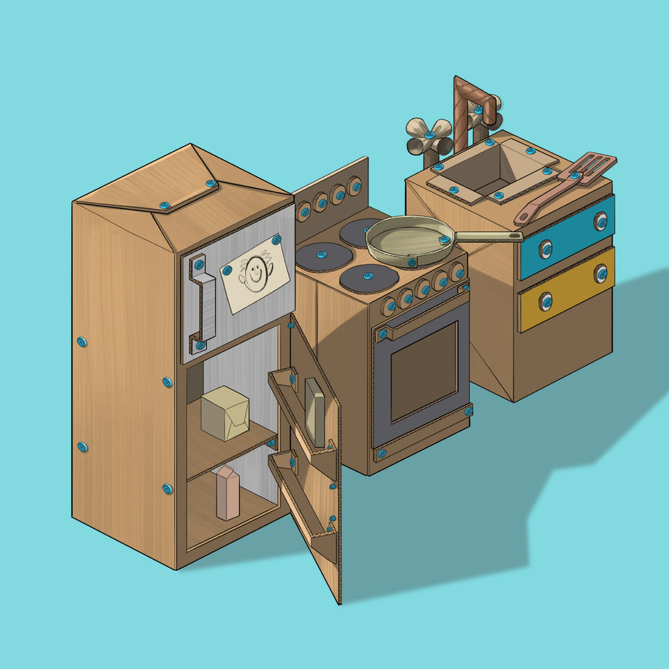 Makedo cardboard play kitchen illustration