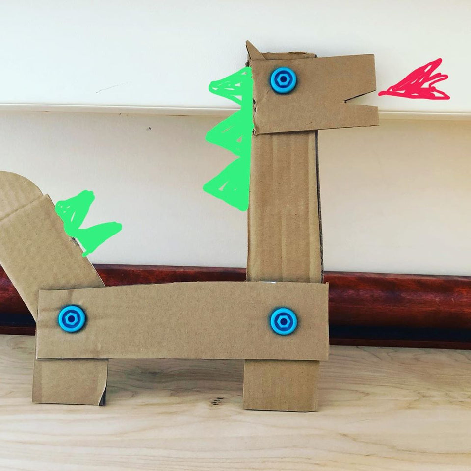 2D cardboard dragon with Makedo and extra digital details