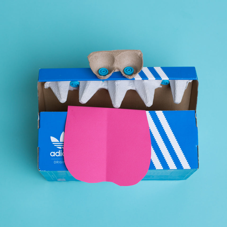 Makedo cardboard shoebox monster creation by Kelly Boulton