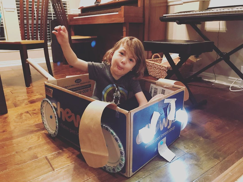 Makedo cardboard construction monster truck with lights