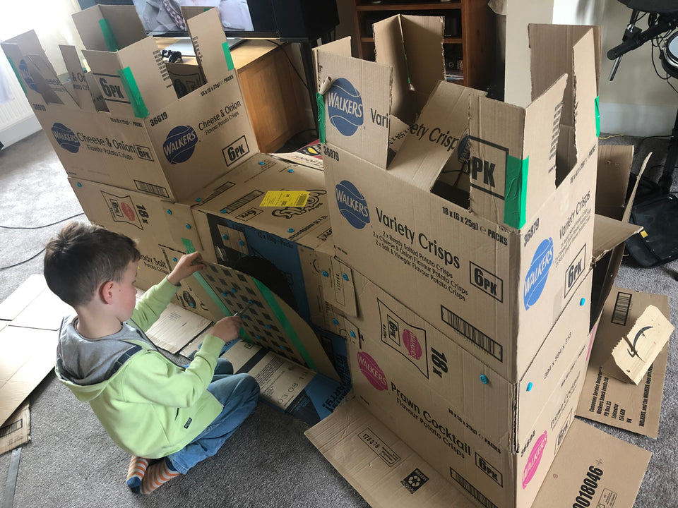 Makedo Structures - Cardboard Castle drawbridge repairs in process