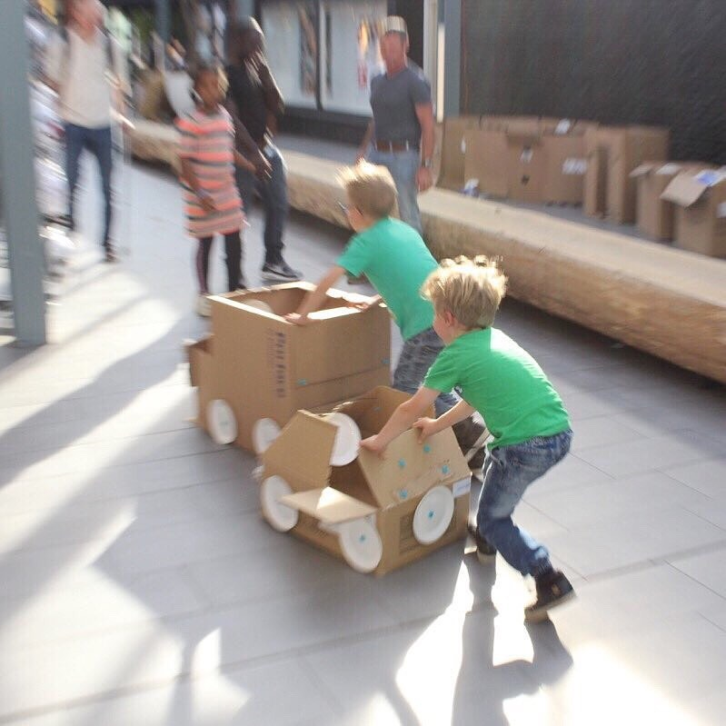Makedo cardboard car race