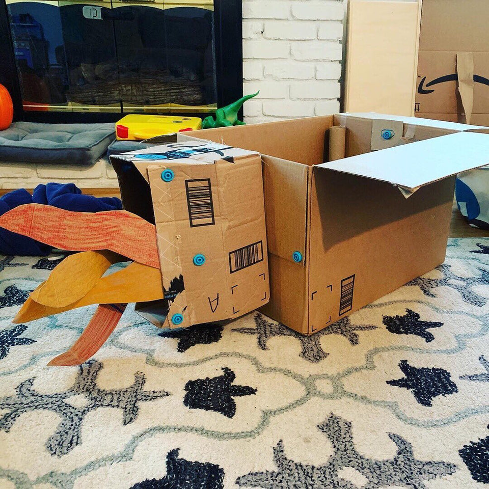 Makedo cardboard rocket with seriously big flames