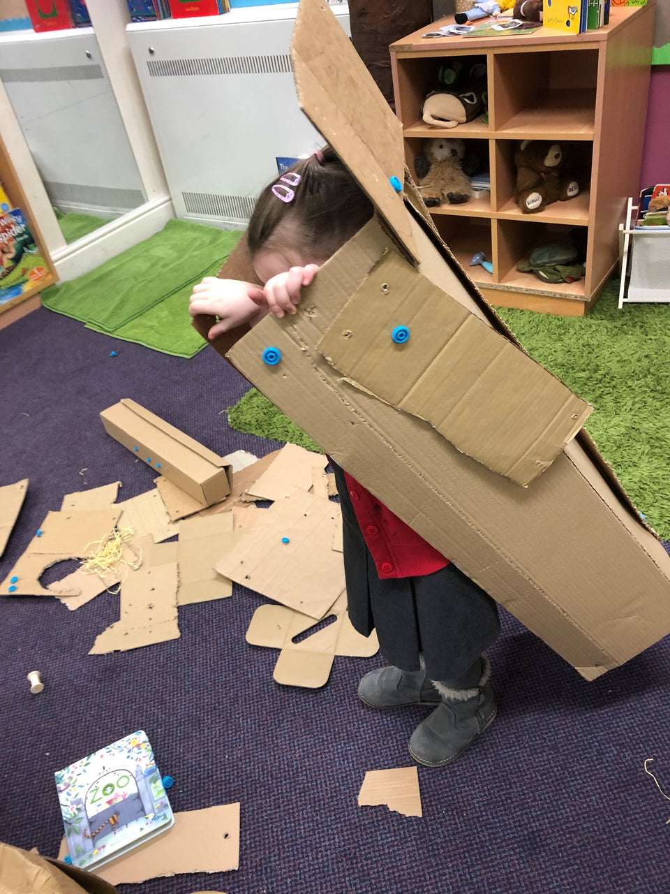 Cardboard Robot Costume testing phase using Makedo cardboard construction