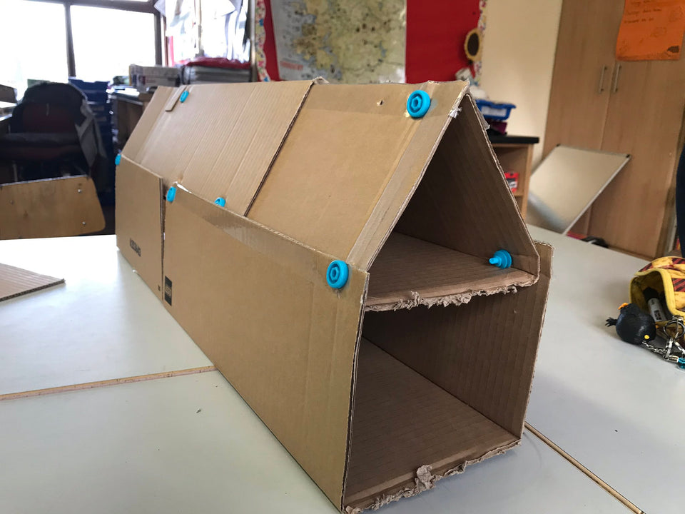 Cardboard house construction designed in SketchUp
