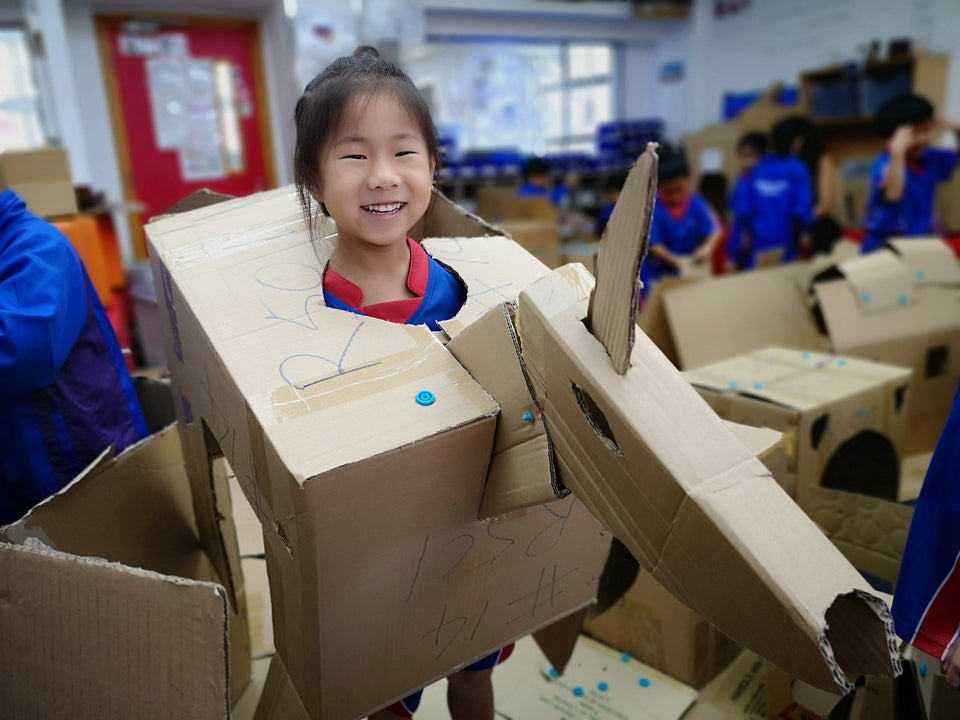 Wearable Makedo cardboard horse costume by grade 1 student via stulowe80