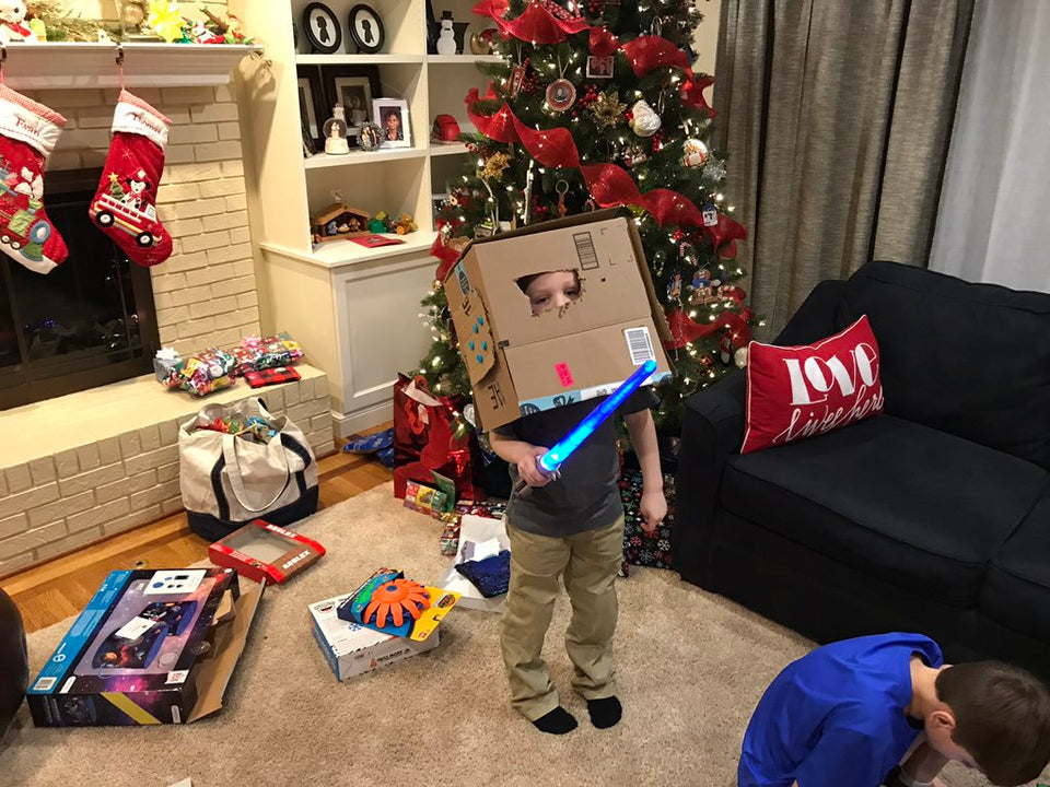 Makedo cardboard storm trooper helmet built by 5 year old at Christmas time