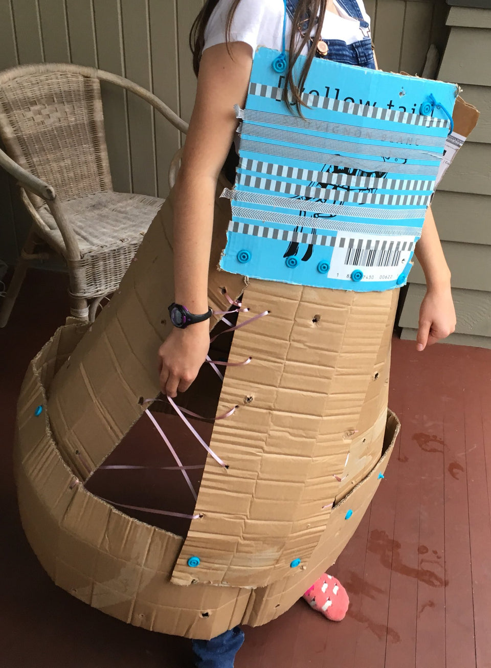 Cardboard dress skirt made with Makedo cardboard construction system