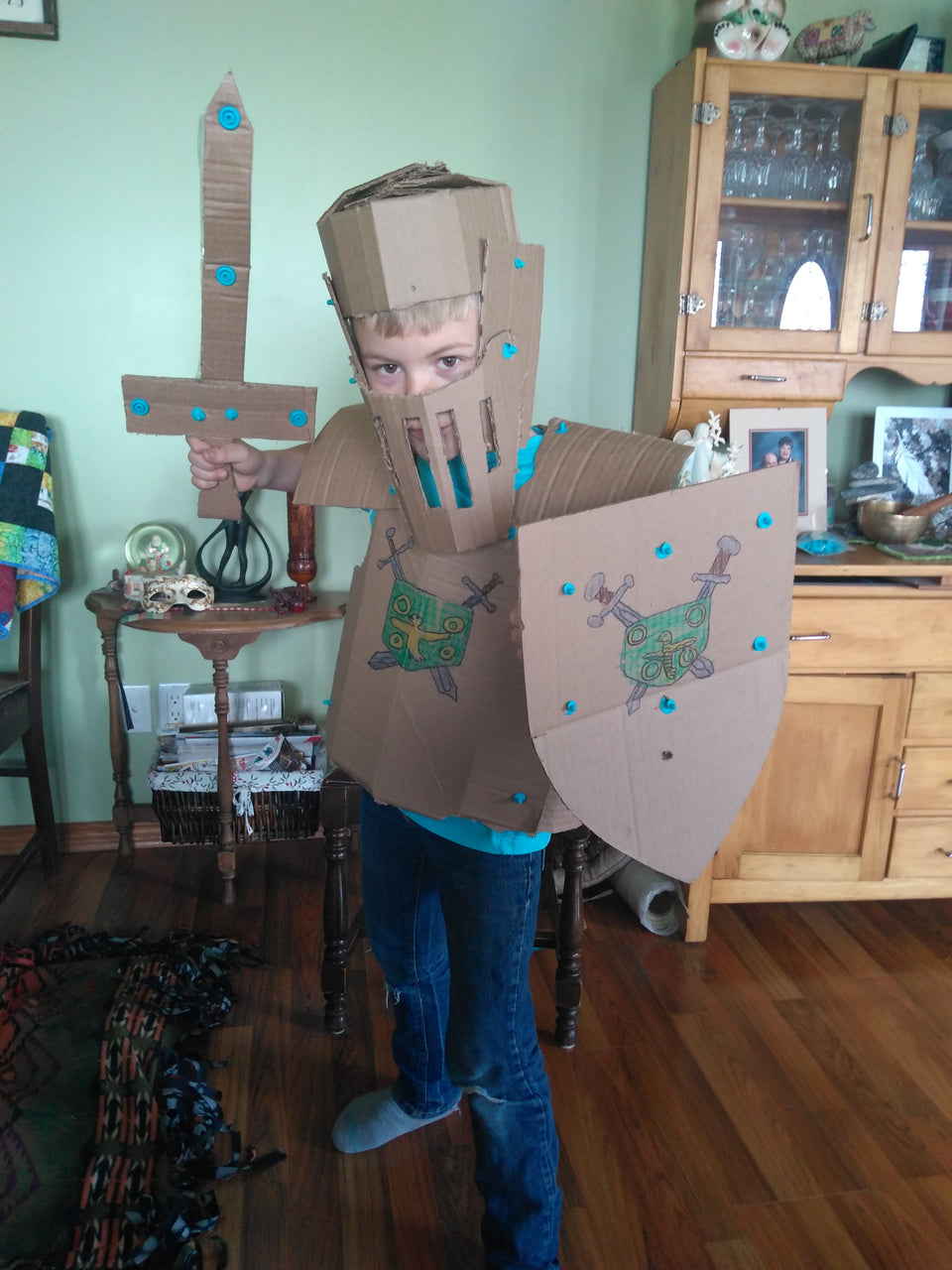 Cardboard knight armor costume made using Makedo
