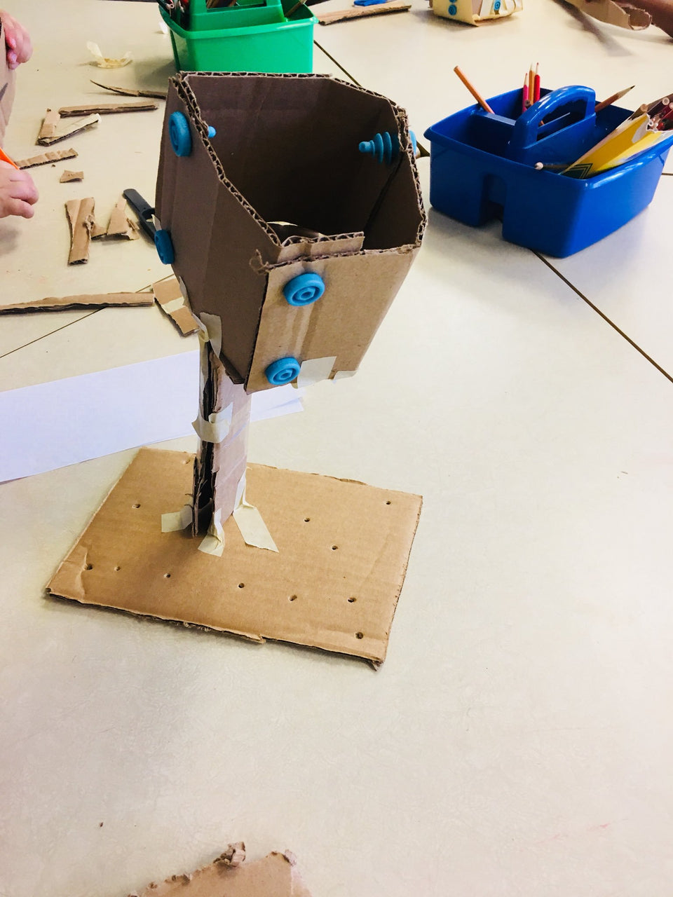 Cardboard bird nest grade school challenge made with Makedo construction system