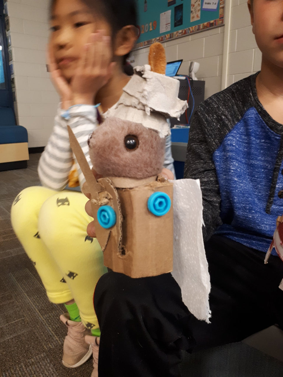 Making soft toy enhancements with cardboard and Makedo.