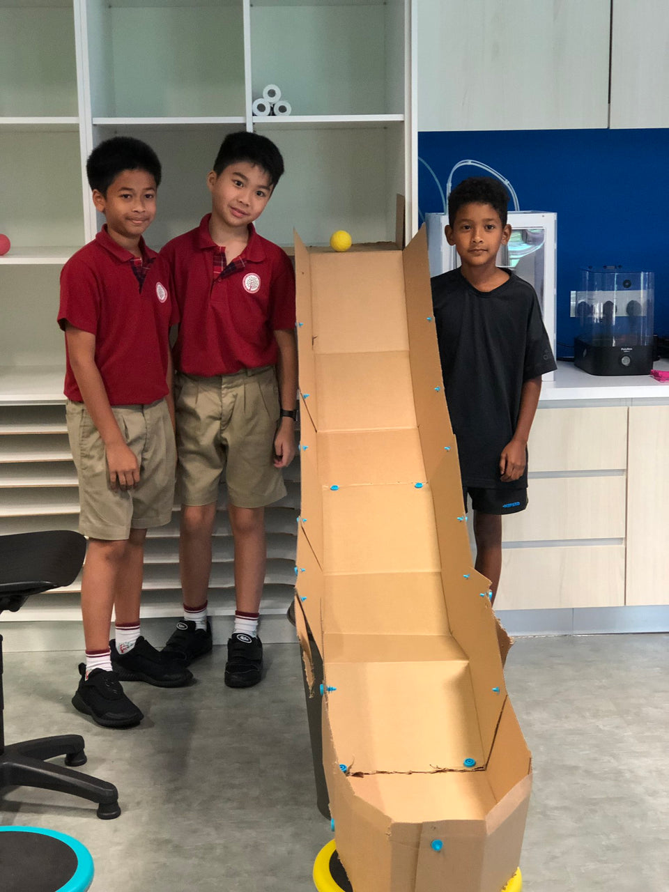 Cardboard ramps for Dash robots made using cardboard and Makedo construction system.