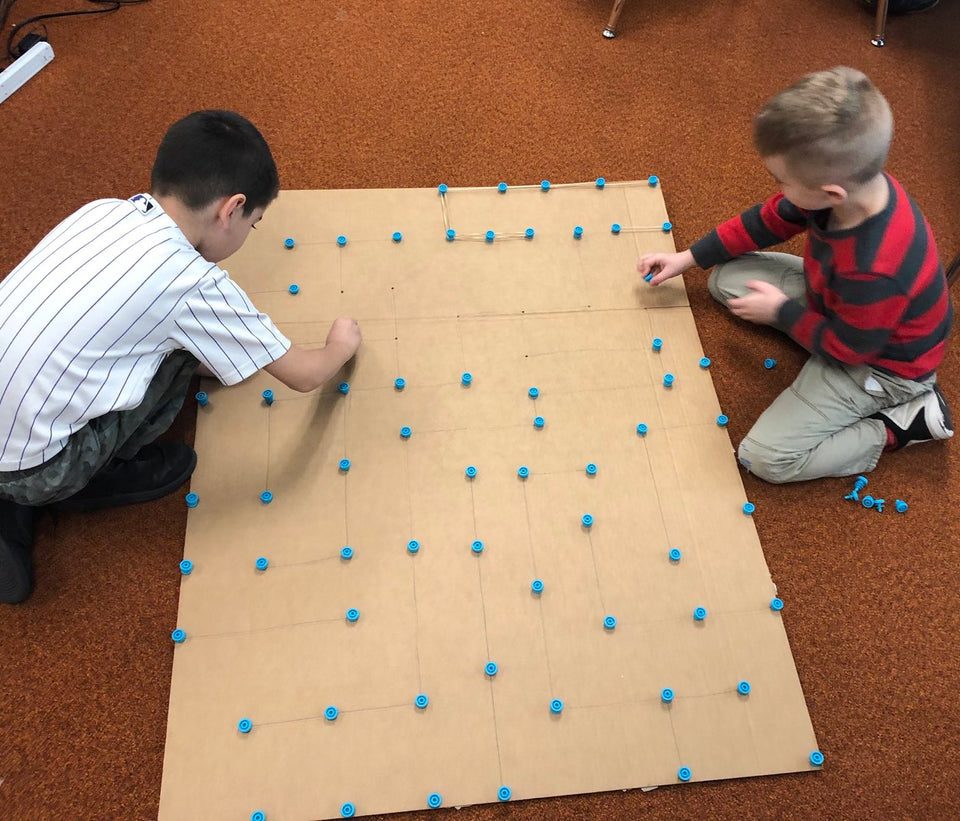 Cardboard maze under construction with Makedo, soon ready for the Sphero robot.