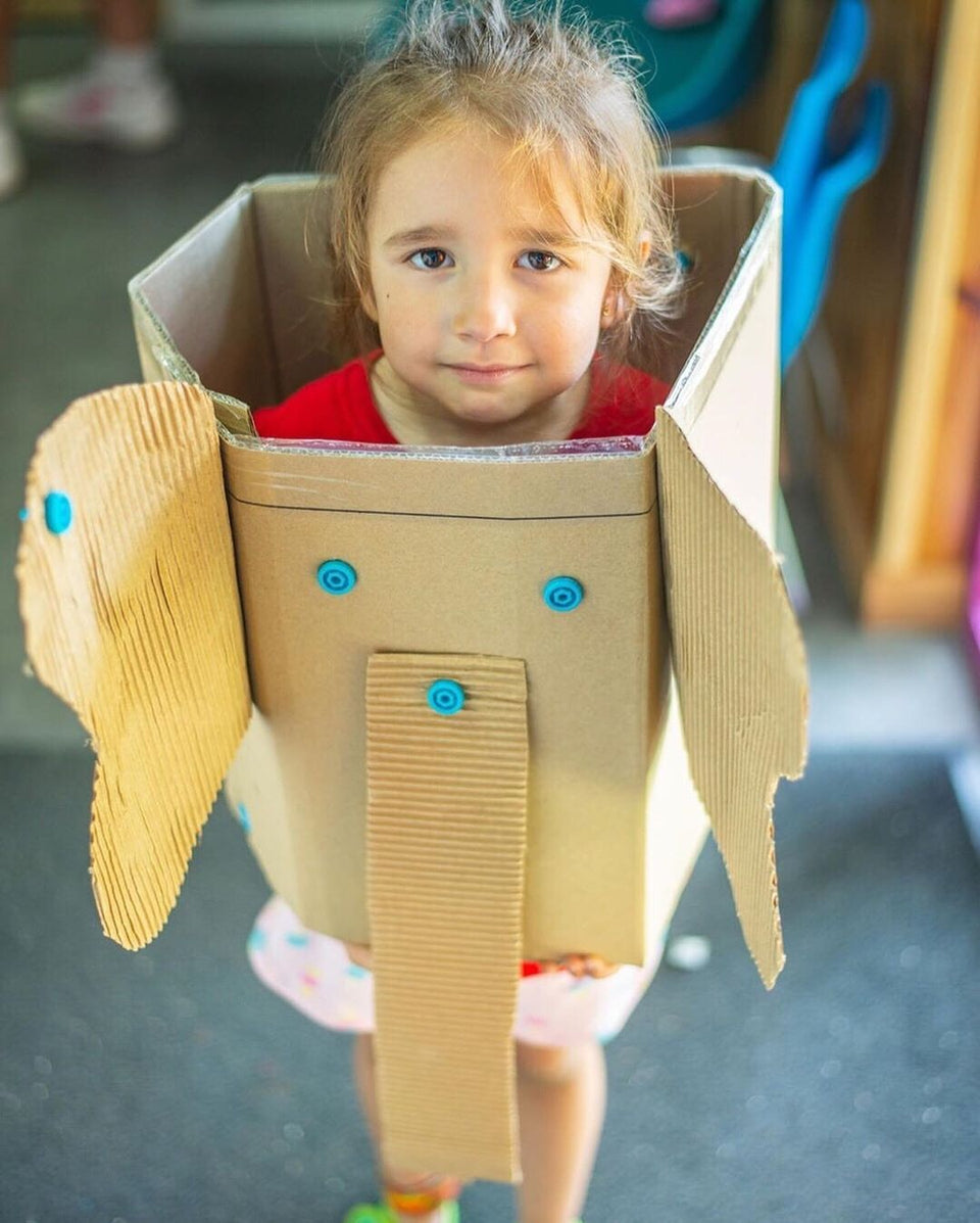Cardboard elephant costume Makedo instagram