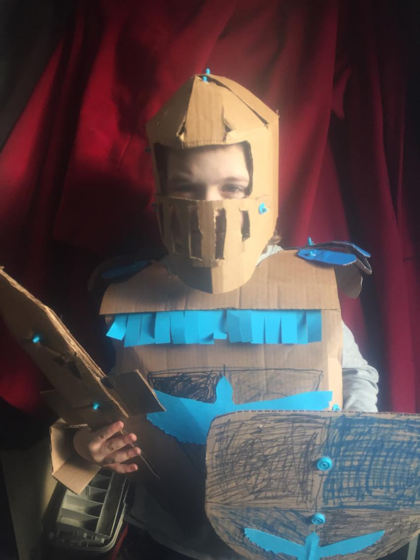Cardboard knight costume Makedo construction system